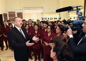 """Prezident İlham Əliyev: """"Azərxalça""""nın xətti ilə ölkəmizdə yaxın gələcəkdə 30 fabrik yaradılacaq"""