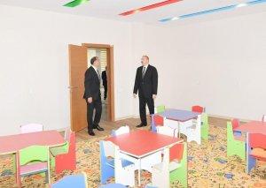 Azərbaycan Prezidenti Heydər Əliyev Fondunun təşəbbüsü ilə İmişlidə inşa edilmiş körpələr evi-uşaq bağçasının açılışında iştirak edib