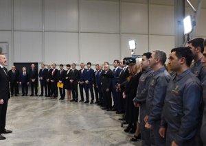 Prezident İlham Əliyev Sumqayıt Kimya Sənaye Parkında tütün məmulatları istehsalı fabrikinin açılışında iştirak edib