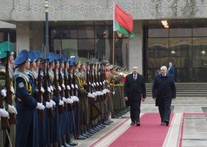 Azərbaycan Prezidenti İlham Əliyevin Minskdə rəsmi qarşılanma mərasimi olub