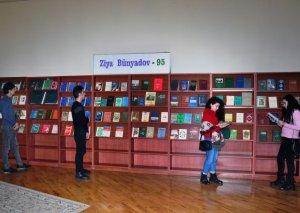 """Milli Kitabxanada """"Ziya Bünyadov-95"""" və """"Mehdi Hüseynzadə-100"""" adlı kitab sərgiləri açılıb"""