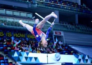 Milli Gimnastika Arenasında idman gimnastikası üzrə Dünya Kuboku çərçivəsində yarışlar davam edir