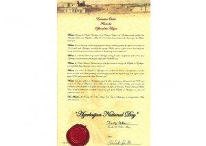 """ABŞ-ın Nyu Meksiko ştatının Albukerke şəhərində 28 may """"Azərbaycan Milli Günü"""" elan edilib"""