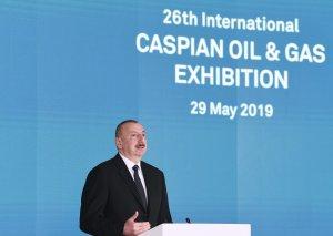 """Prezident İlham Əliyev XXVI Beynəlxalq """"Xəzər Neft və Qaz-2019"""" sərgi və konfransının açılışında iştirak edib"""