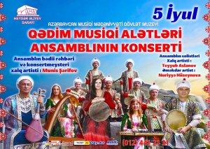 Qədim Musiqi Alətləri Dövlət Ansamblının konserti olacaq