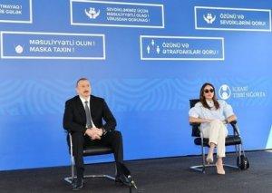 Prezident İlham Əliyev və Mehriban Əliyeva Bakıda modul tipli hospitalın açılışında -