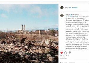 """""""National Geographic"""" """"Instagram"""" səhifəsində Ağdamda ermənilərin törətdikləri dağıntıları əks etdirən fotolar paylaşıb"""