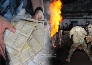 Bakıda bir tona yaxın heroin yandırıldı -FOTO