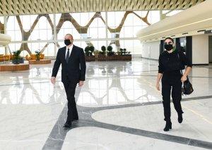 Prezidentlə xanımı Füzuli aeroportunda- FOTOLAR
