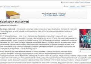 Vikipediyaya Azərbaycan mədəniyyəti haqqında özbək dilində məqalə yerləşdirilib