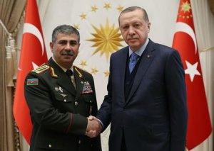 Türkiyə Prezidenti Azərbaycanın müdafiə naziri ilə görüşüb