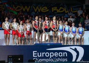 Batut gimnastikası üzrə Avropa Çempionatının üçüncü gününün qalibləri və mükafatçılarının mükafatlandırma mərasimi keçirilib